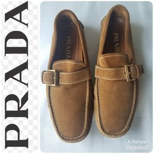 GORGEOUS PRADA Tan Suede Loafers Size 5 Excellent